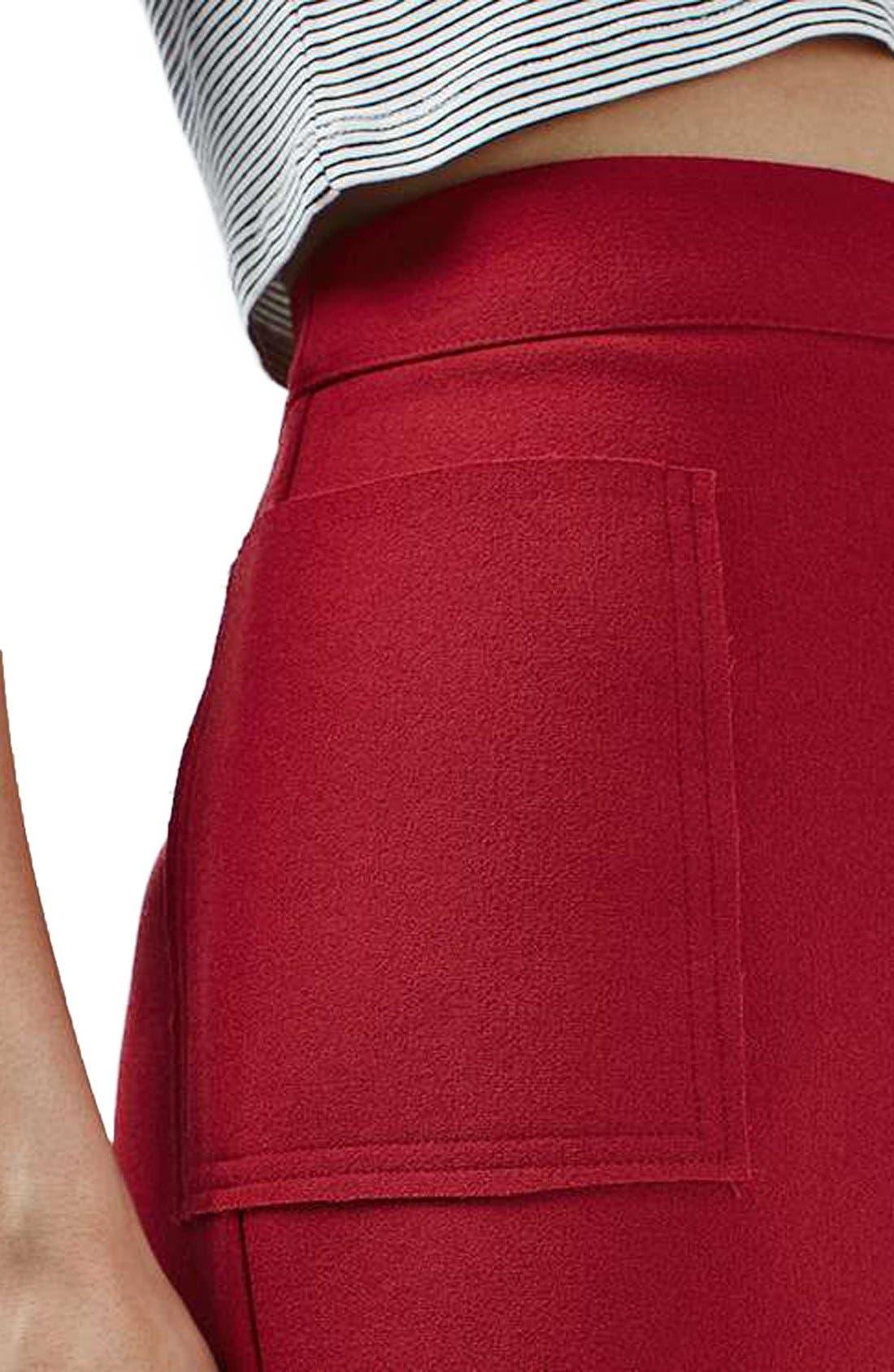 Alternate Image 5  - Topshop Patch Pocket Crepe Miniskirt