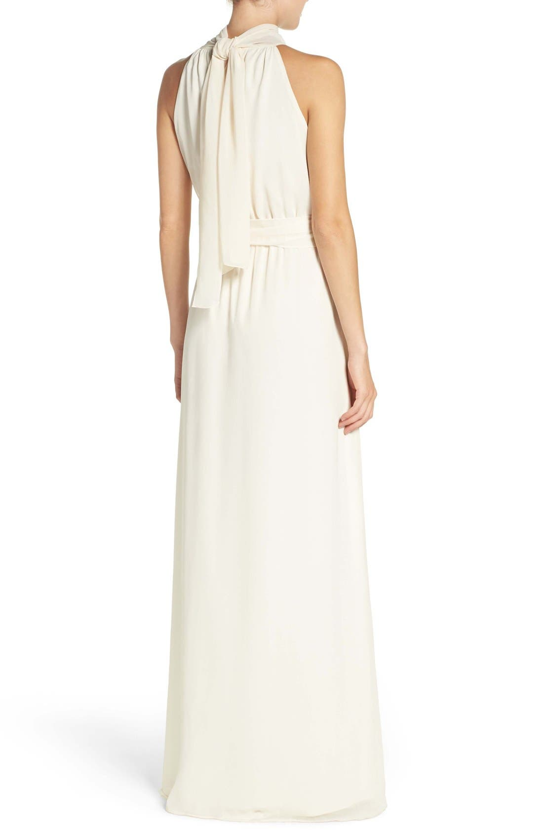 Alternate Image 3  - Ceremony by Joanna August 'Riggs' Halter V-Neck Chiffon Gown