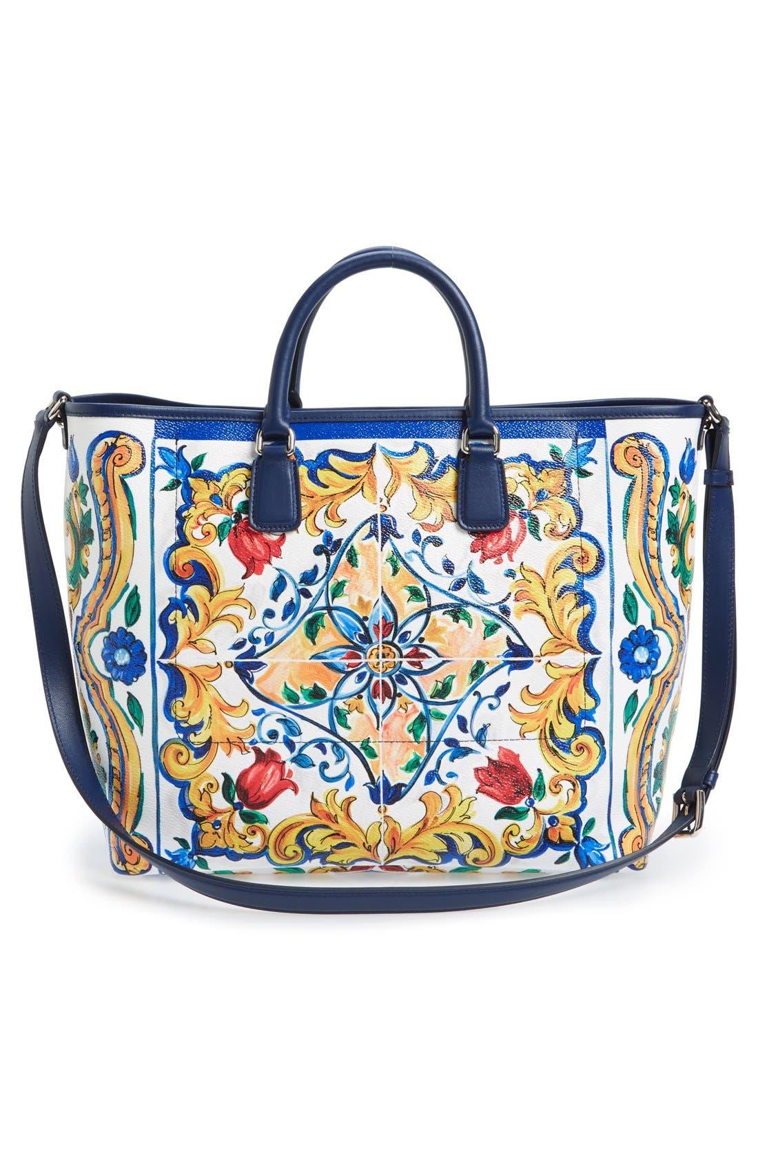 Alternate Image 2  - Dolce&Gabbana 'Lara' Mallorca Print Painted Shopper