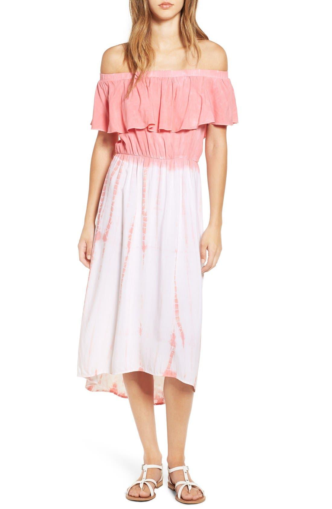 Main Image - jella c. Off the Shoulder Tie Dye Midi Dress
