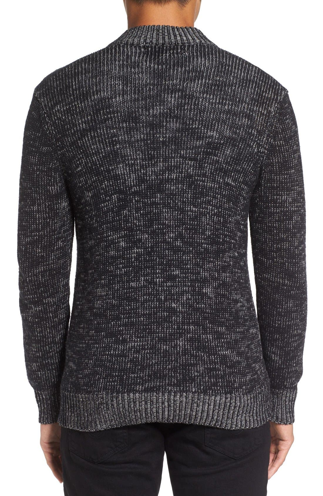 Two-Way Zip Mélange Sweater,                             Alternate thumbnail 2, color,                             Black/ Heather Grey