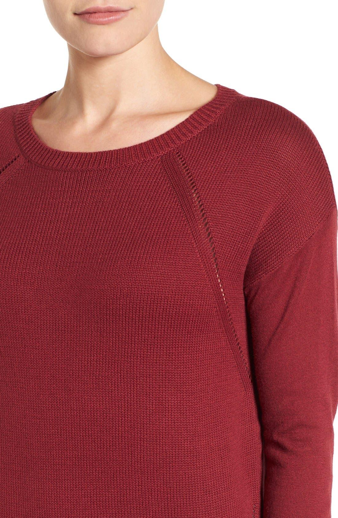 Alternate Image 4  - Caslon® Button Back Tunic Sweater (Regular & Petite)