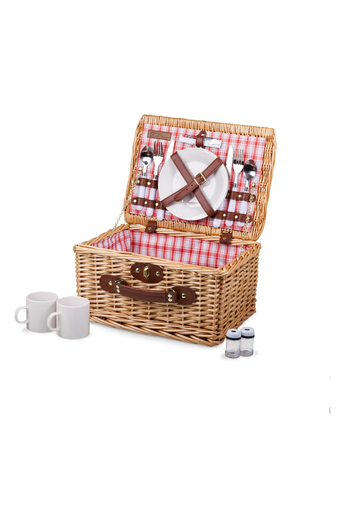 'Catalina' Wicker Picnic Basket,                             Main thumbnail 1, color,                             Red