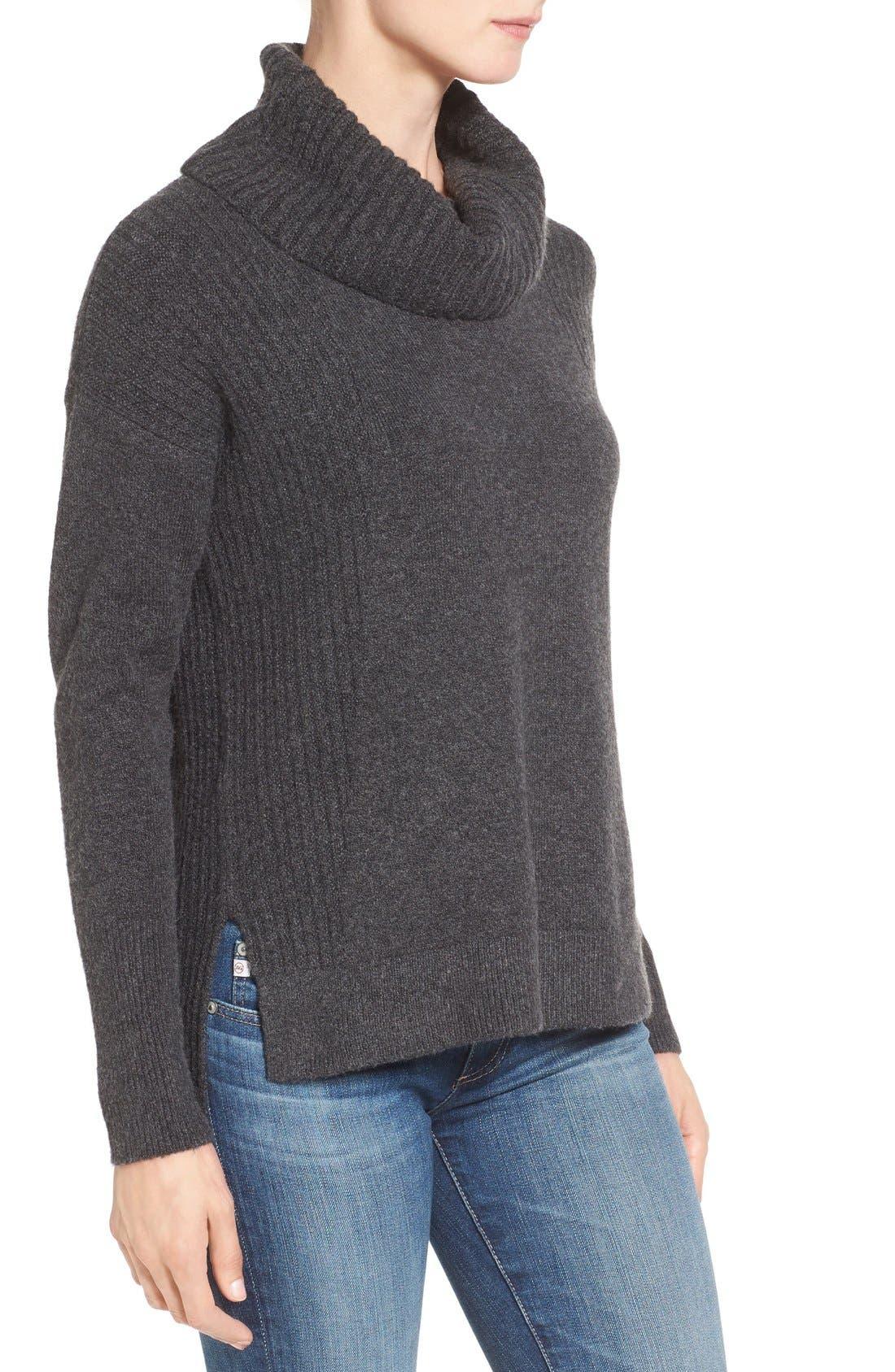 Alternate Image 3  - Caslon® Cozy Rib Detail Relaxed Turtleneck (Regular & Petite)
