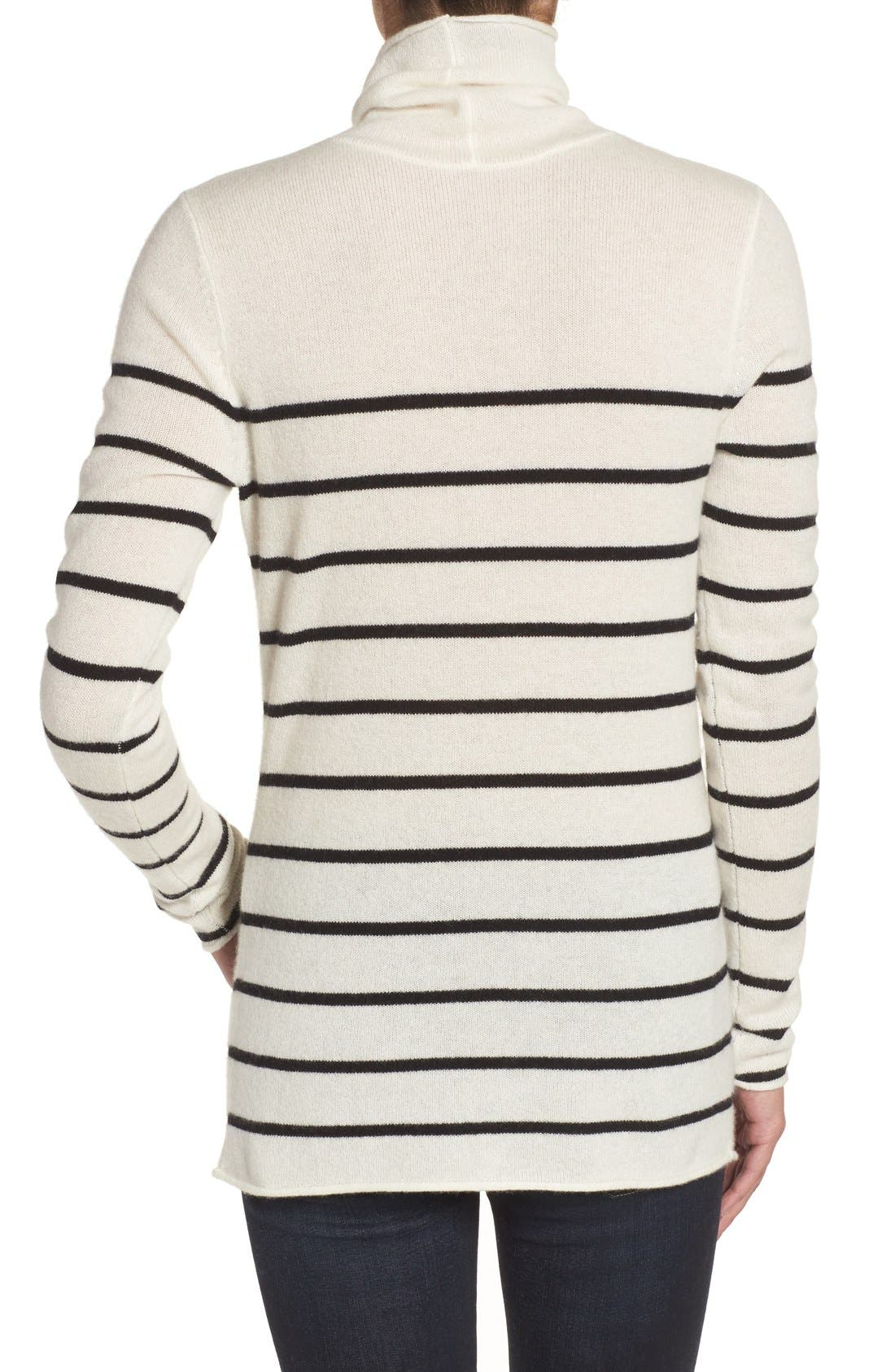 Wool & Cashmere Funnel Neck Sweater,                             Alternate thumbnail 2, color,                             Ivory- Black Stripe