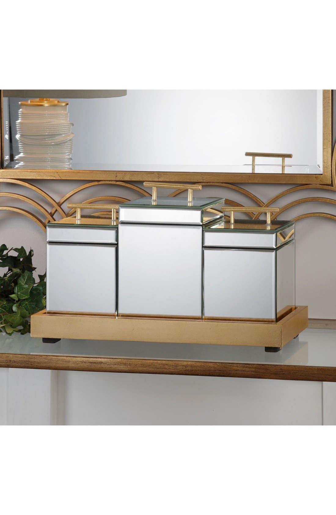 4-Piece Trinket Box & Tray Set,                             Alternate thumbnail 3, color,                             Metallic Gold