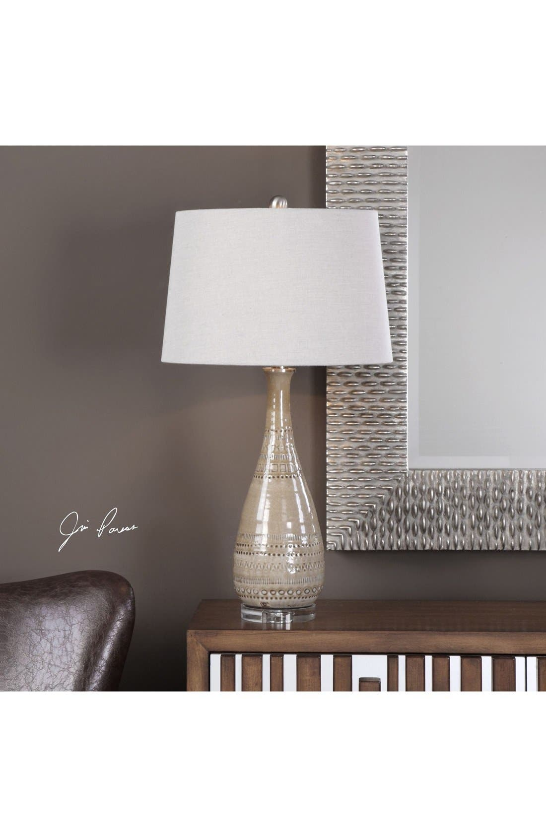 Textured Ceramic Lamp,                             Alternate thumbnail 2, color,                             Ivory