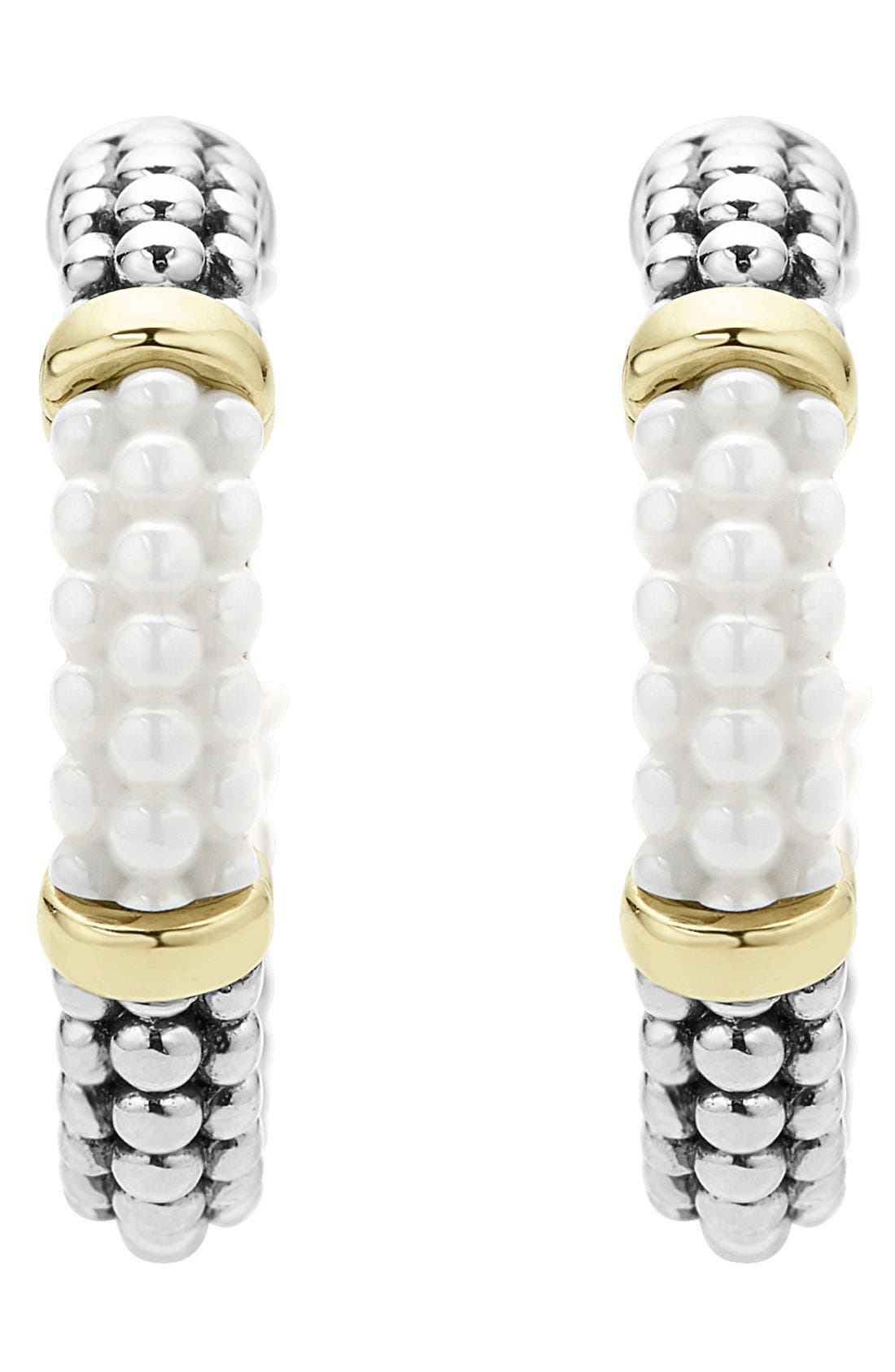 'Black & White Caviar' Hoop Earrings,                             Alternate thumbnail 2, color,                             White/ Gold