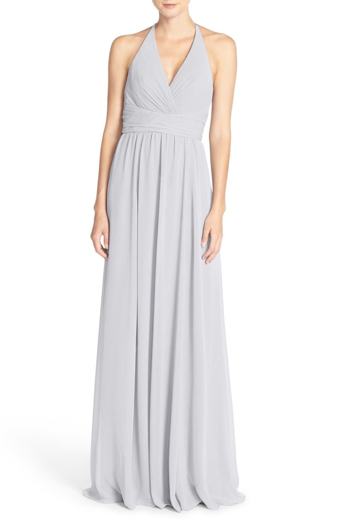 'Jennifer' V-Neck Chiffon Halter Gown,                             Main thumbnail 1, color,                             Dove
