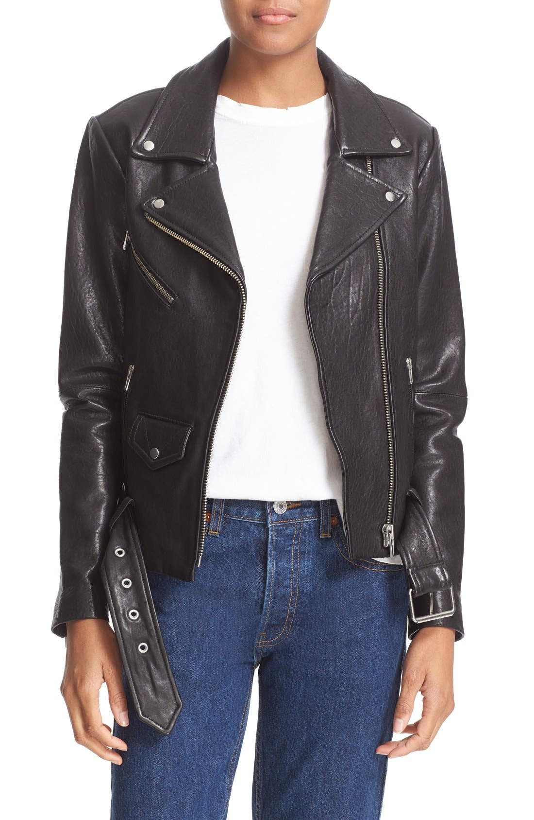 'Jayne' Lambskin Leather Moto Jacket,                             Main thumbnail 1, color,                             Black