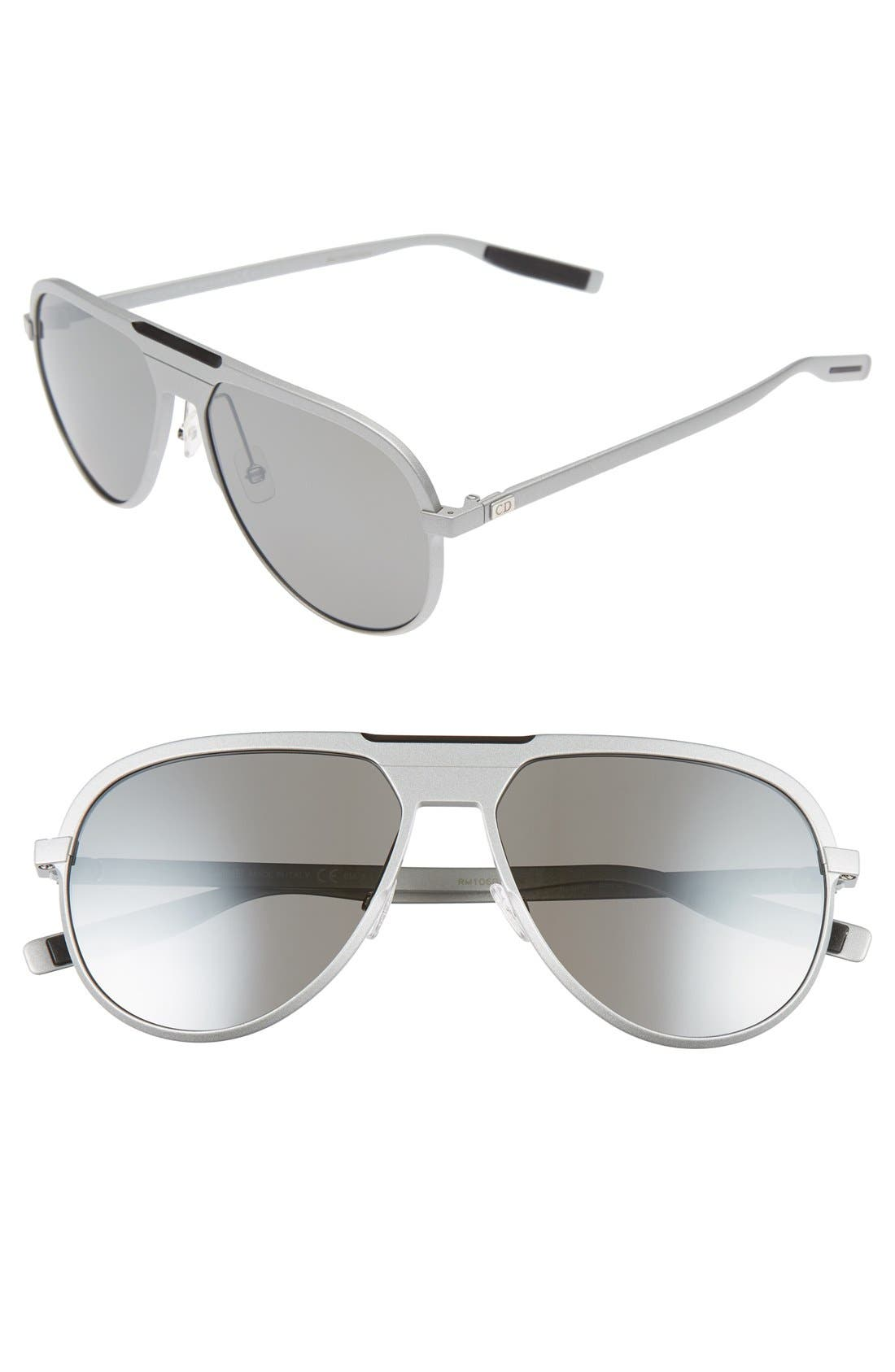59mm Aviator Sunglasses,                         Main,                         color, Matte Palladium