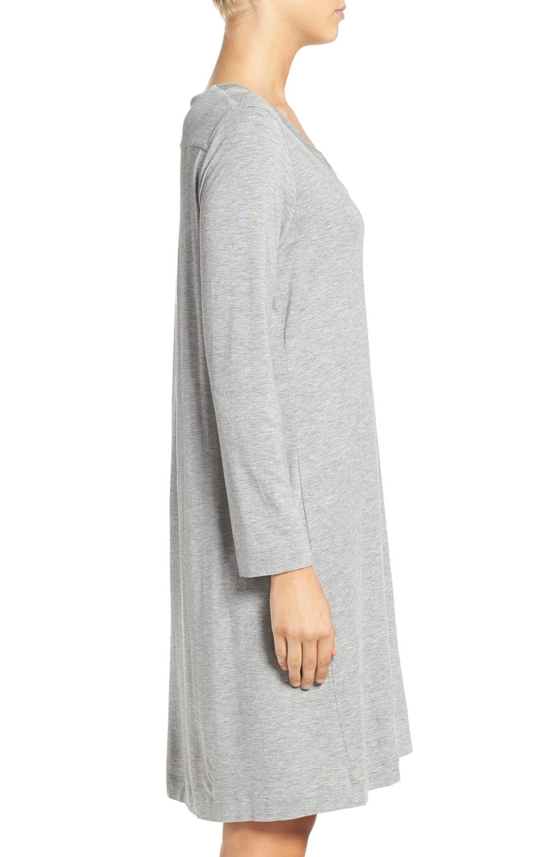 Long Sleeve Knit Nightgown,                             Alternate thumbnail 3, color,                             Grey Melange 958