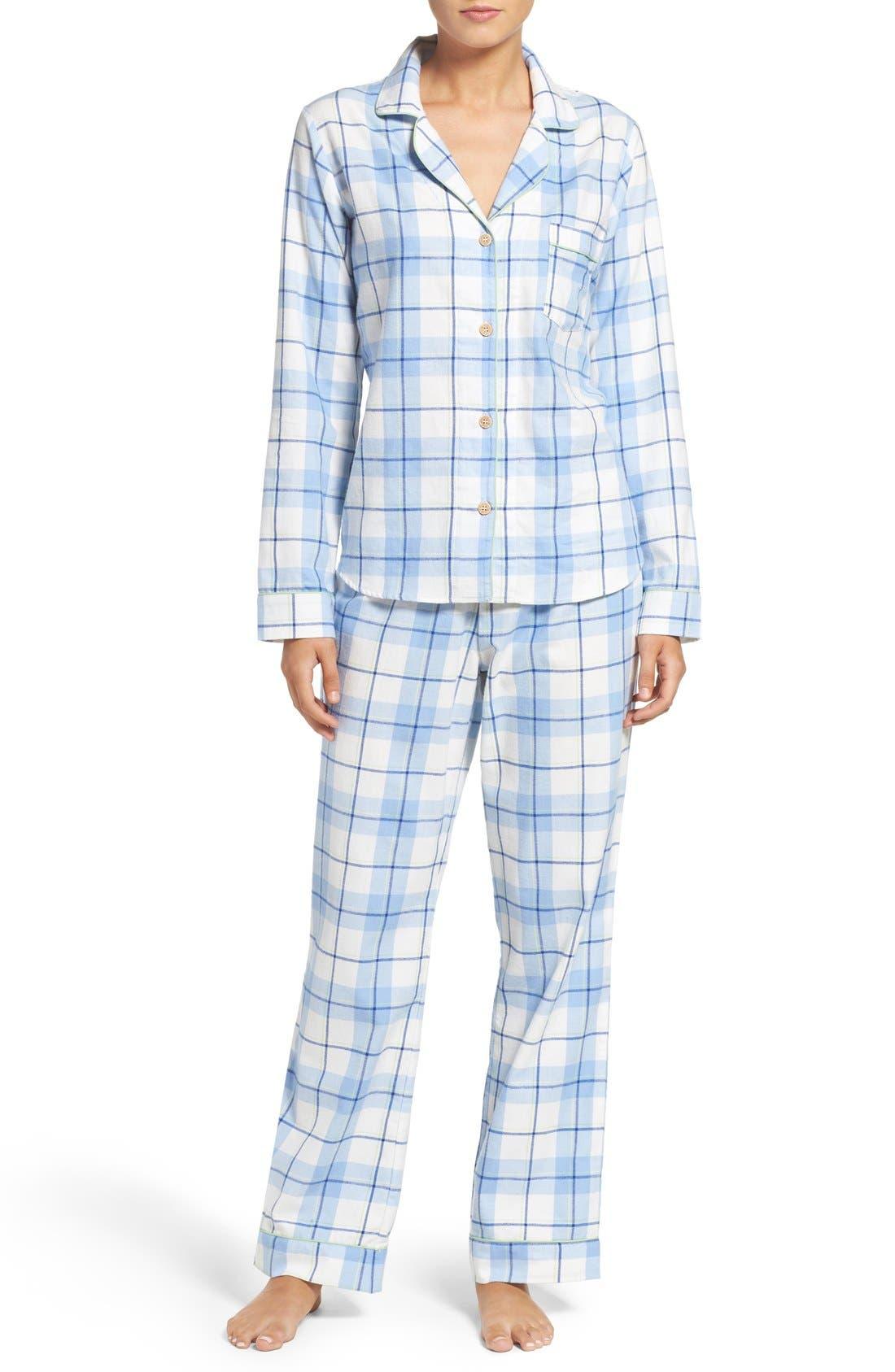 'Raven' Plaid Cotton Pajamas,                         Main,                         color, Pajama Blue