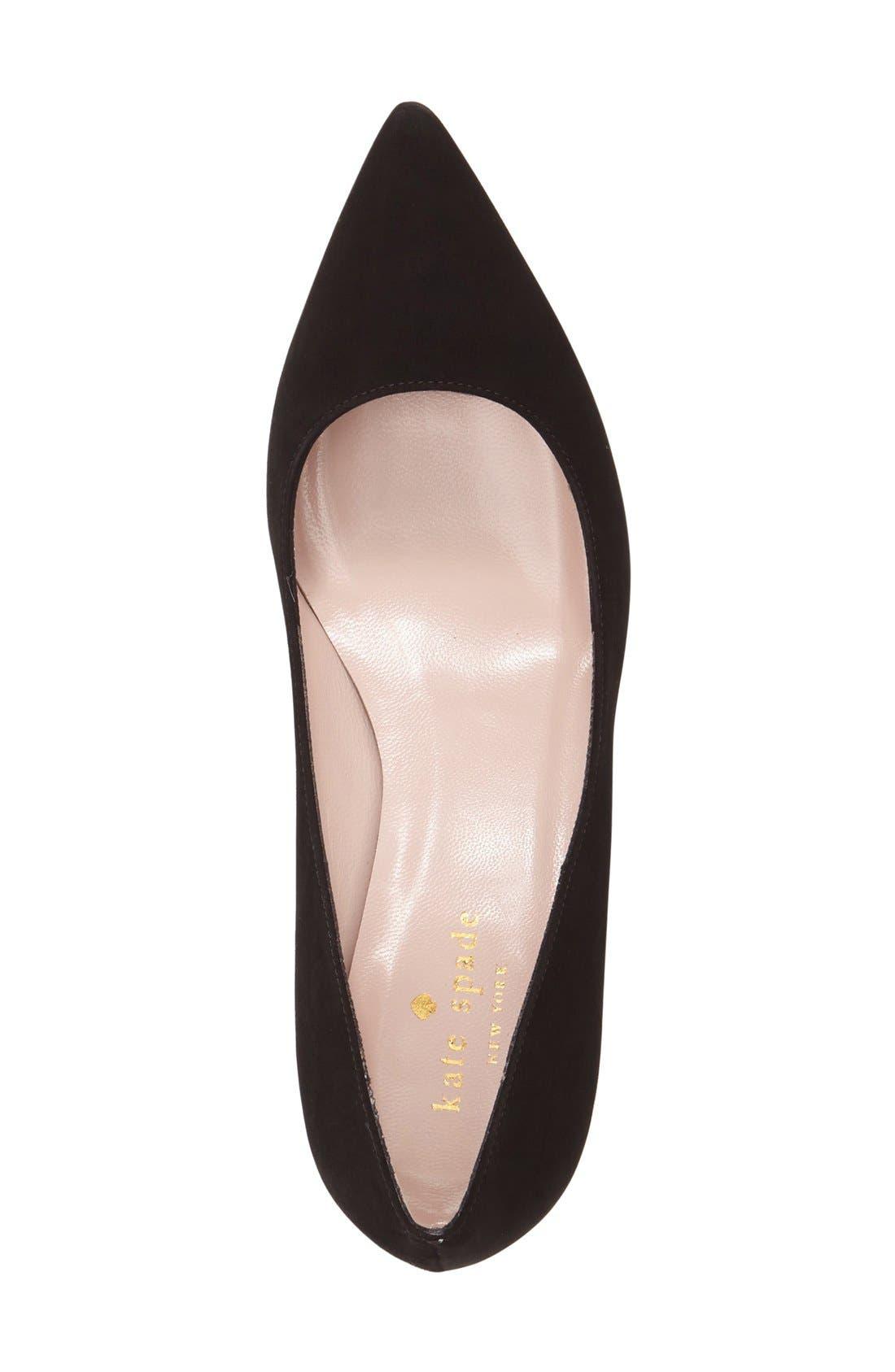 'milan too' pointy toe pump,                             Alternate thumbnail 3, color,                             Black