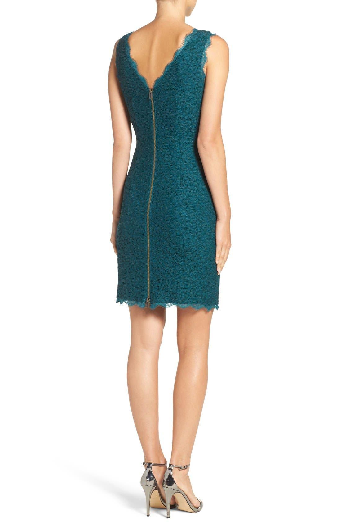 Boatneck Lace Sheath Dress,                             Alternate thumbnail 3, color,                             Hunter