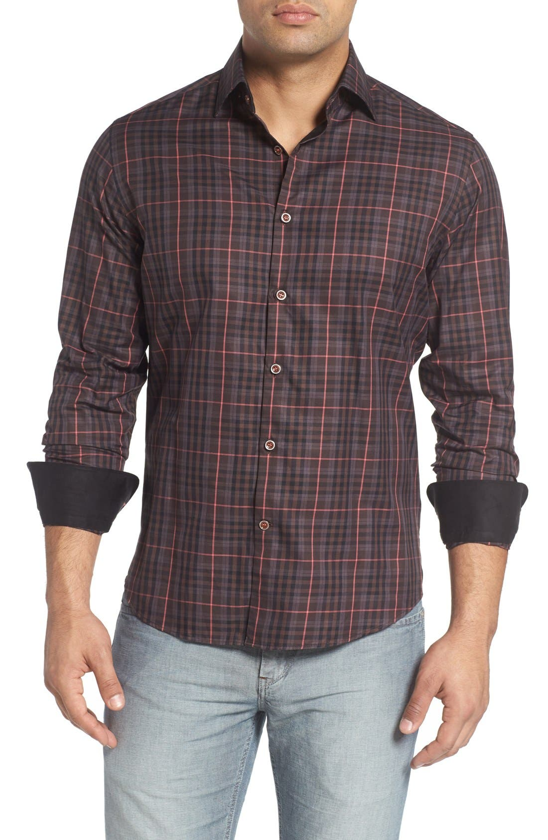 Plaid Sport Shirt,                         Main,                         color, Brown