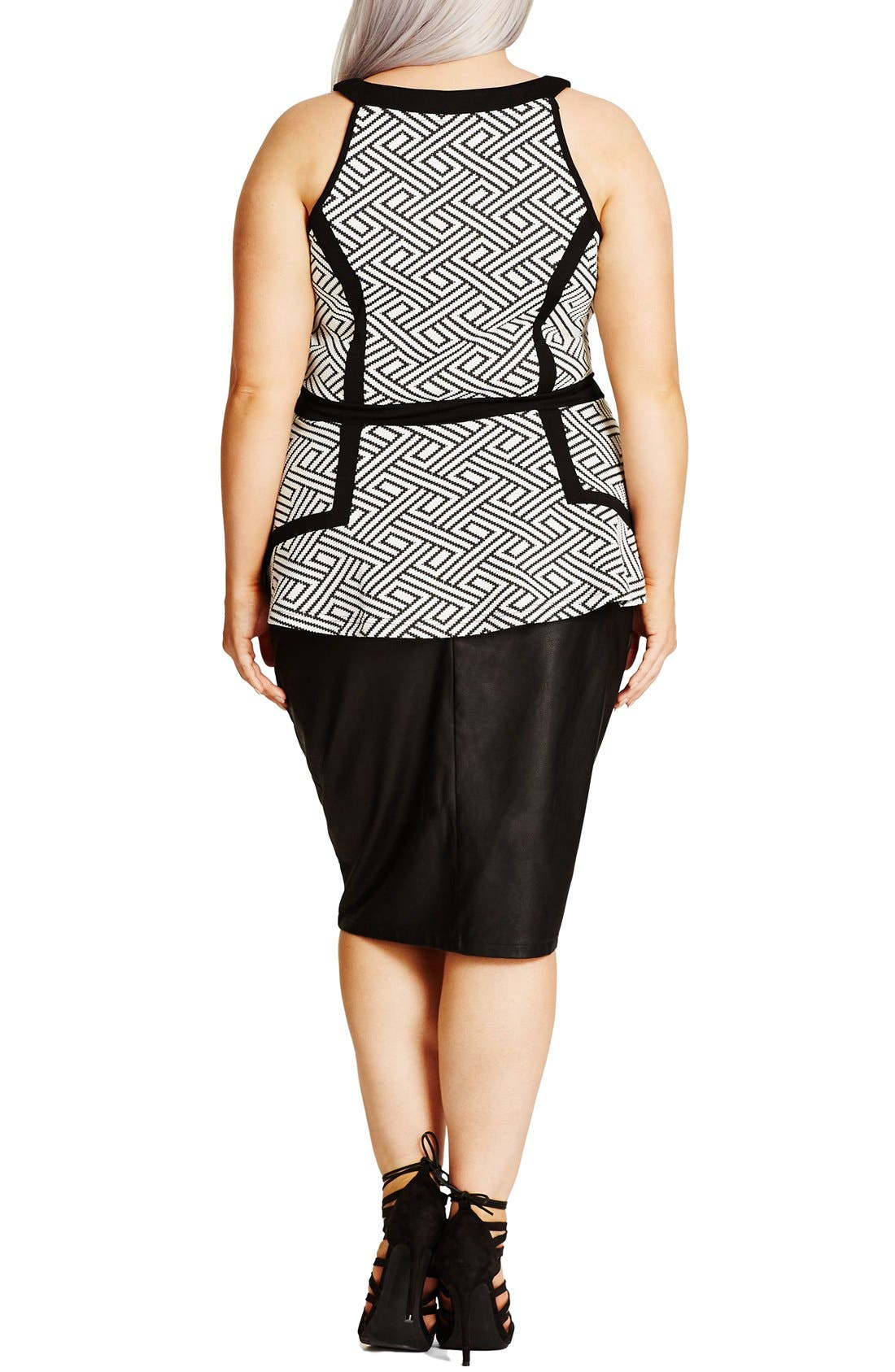 Alternate Image 2  - City Chic Geo Sleeveless Peplum Top (Plus Size)
