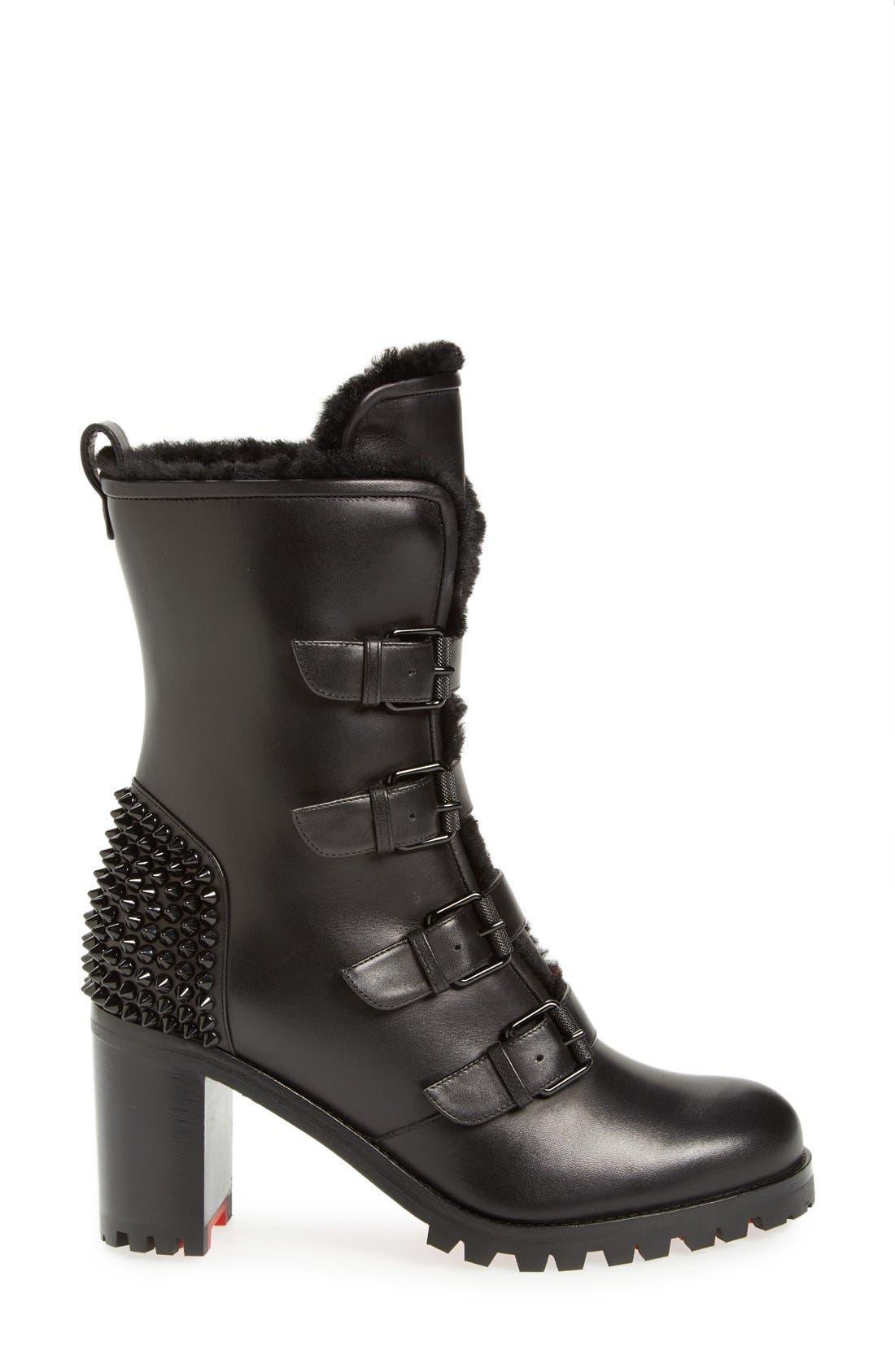 'Glorymount' Studded Buckle Boot,                             Alternate thumbnail 4, color,                             Black Leather