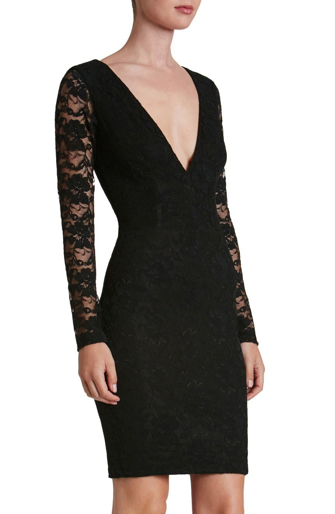 DRESS THE POPULATION Erica Plunge Neck Lace Body-Con Dress