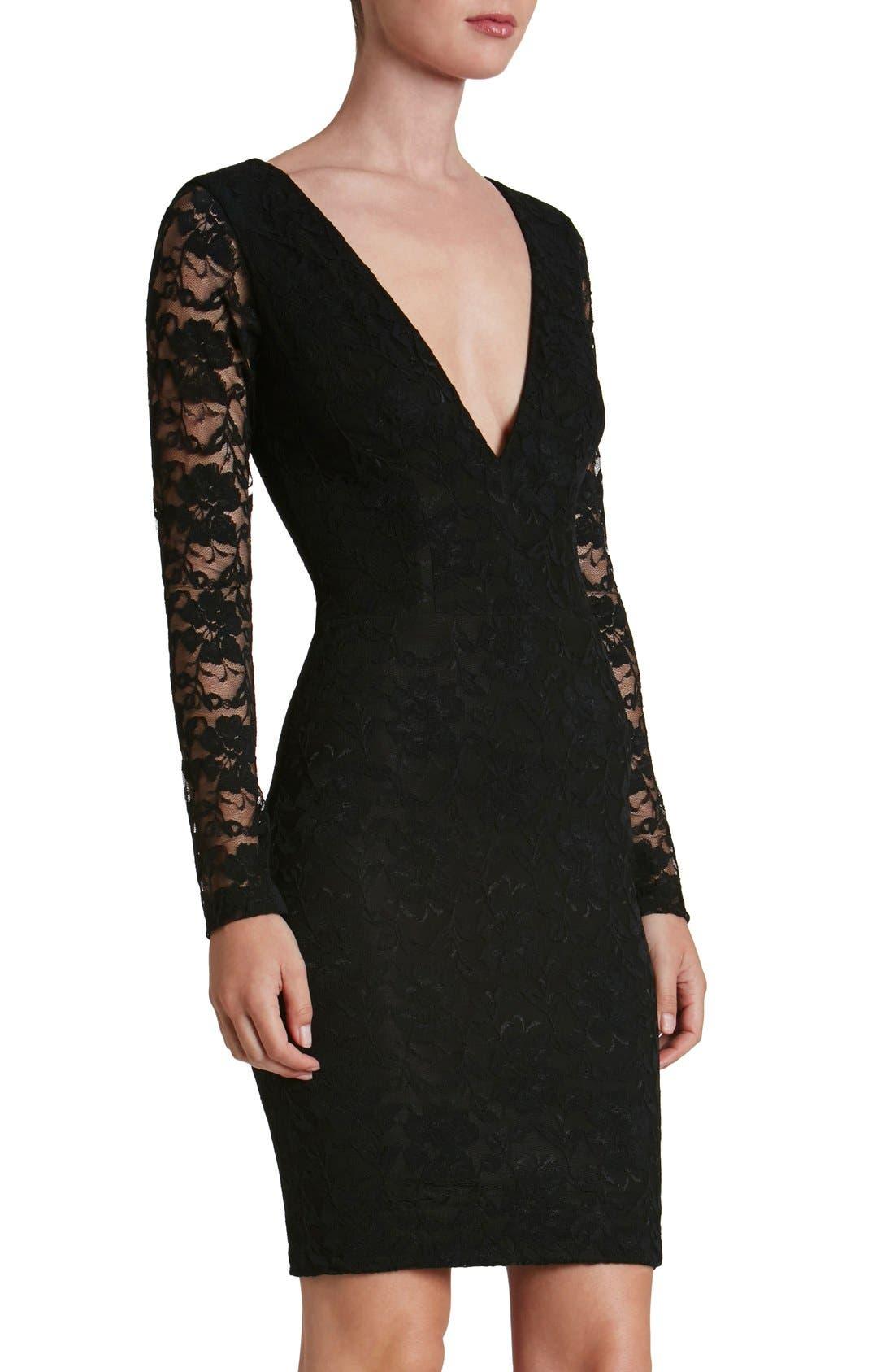 'Erica' Plunge Neck Lace Body-Con Dress,                         Main,                         color, Black/ Black