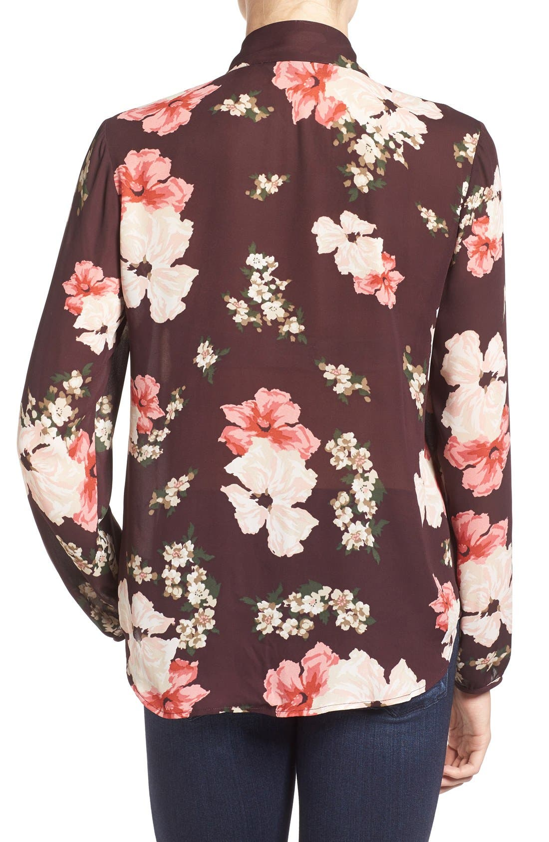 Alternate Image 2  - cupcakes and cashmere Floral Print Tie Neck Blouse