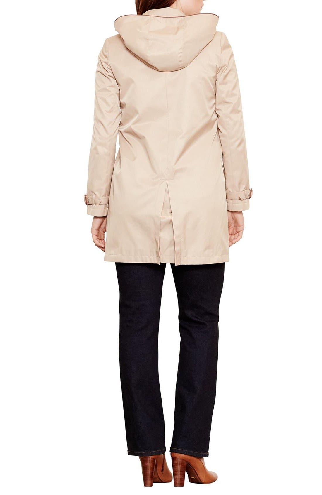 Alternate Image 2  - Lauren Ralph Lauren Faux Leather Trim Raincoat (Plus Size)