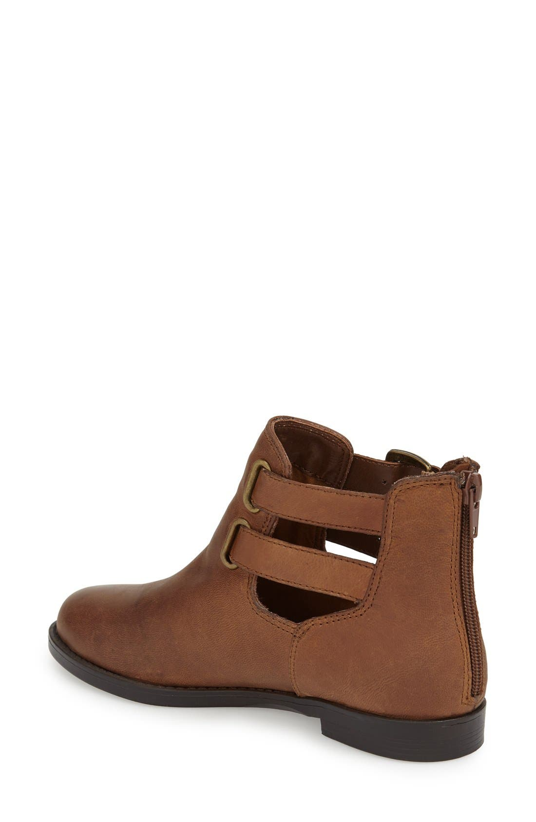 'Ramona' Double Buckle Bootie,                             Alternate thumbnail 2, color,                             Camel Leather