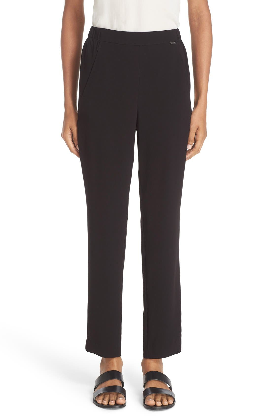 St. John Sport Collection Satin Back Crepe Pants,                         Main,                         color, Caviar
