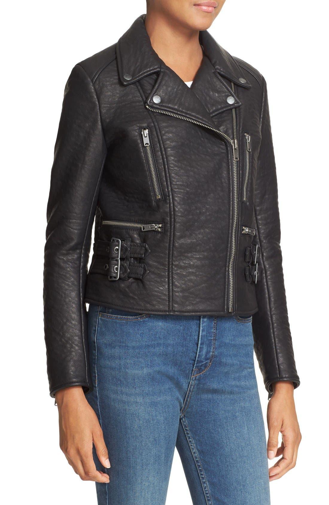 'Soho' Faux Leather Moto Jacket,                             Alternate thumbnail 4, color,                             Black