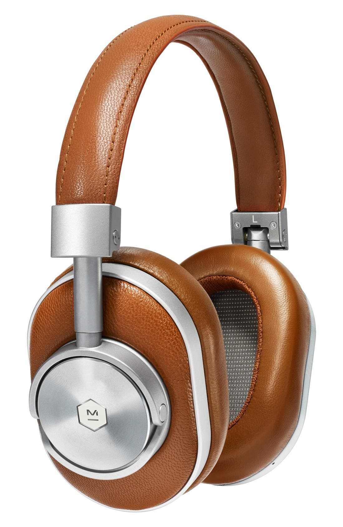 MW60 Wireless Leather Over Ear Headphones,                         Main,                         color, Brown/ Silver