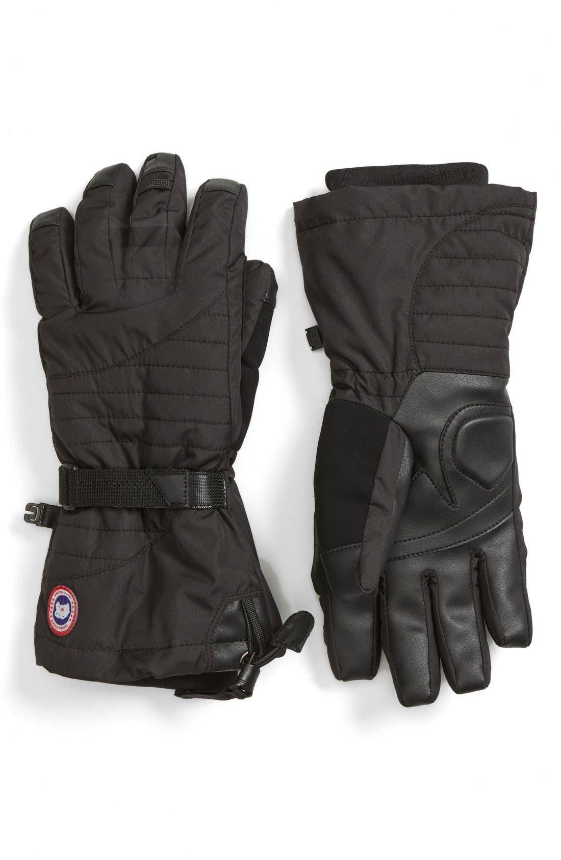 'Arctic' Waterproof Down Gloves,                         Main,                         color, Black