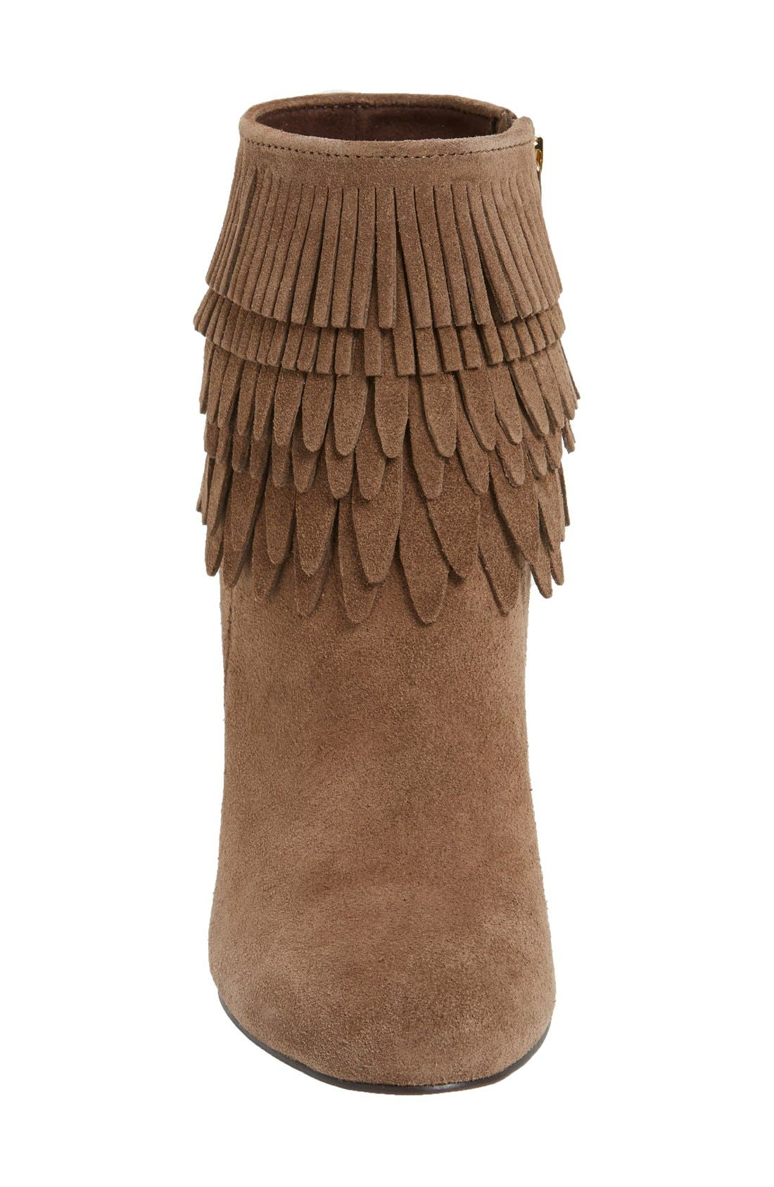 'Layton' Fringe Bootie,                             Alternate thumbnail 3, color,                             Havana Brown Suede