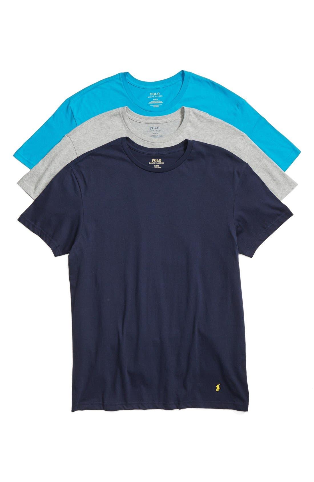 Classic Fit 3-Pack Cotton T-Shirt,                         Main,                         color, Maui Blue/ Heath/ Navy