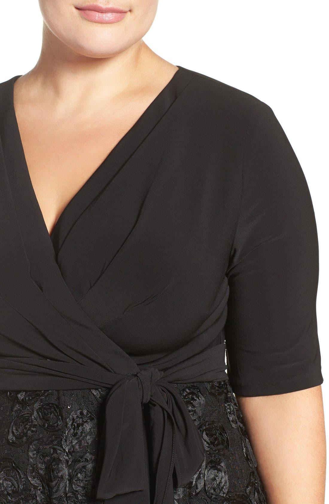 Alternate Image 5  - Alex Evenings Tea Length Jersey & Rosette Lace Dress (Plus Size)