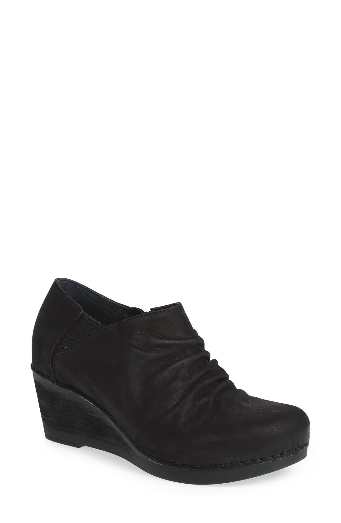 'Sheena' Slouchy Wedge Bootie,                             Main thumbnail 1, color,                             Black Nubuck Leather