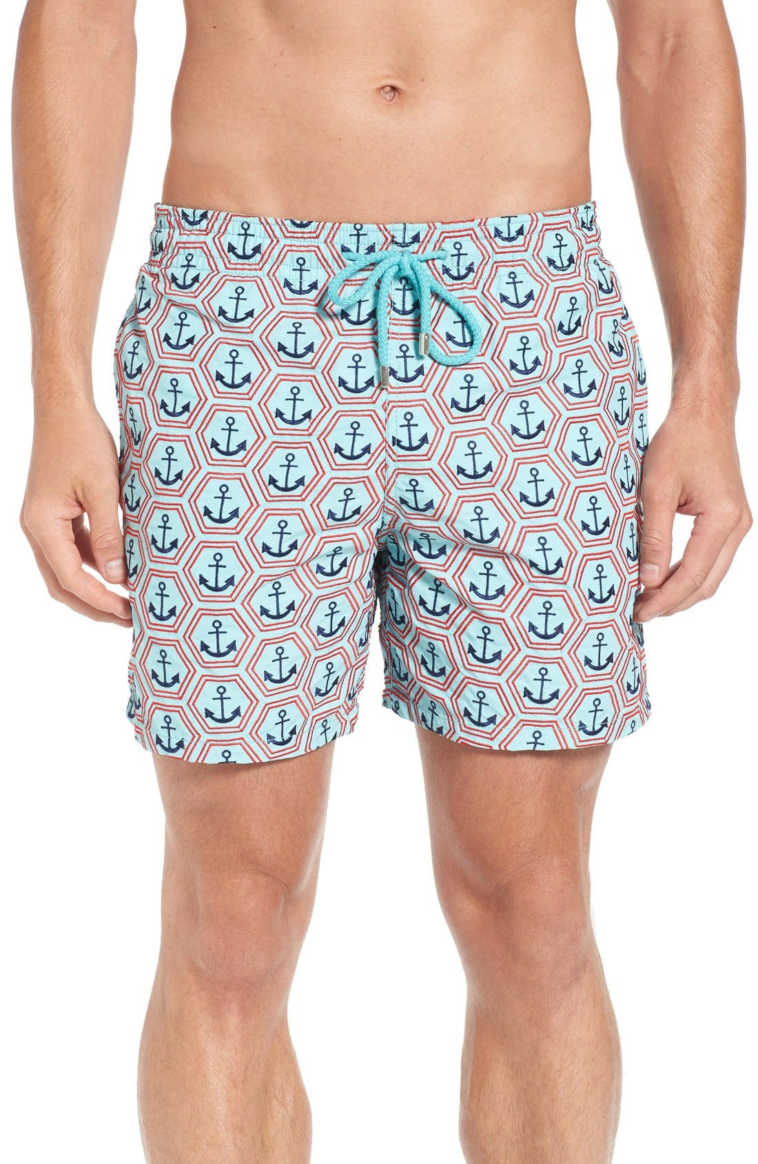 Vilbrequin Anchor Embroidered Swim Trunks,                             Main thumbnail 1, color,                             Lagoon