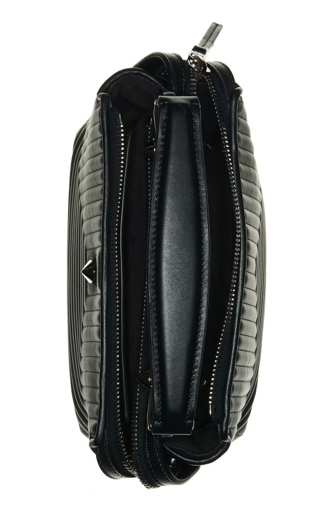 'DOTCOM Click' Quilted Leather Satchel,                             Alternate thumbnail 4, color,                             Black/ Palladium