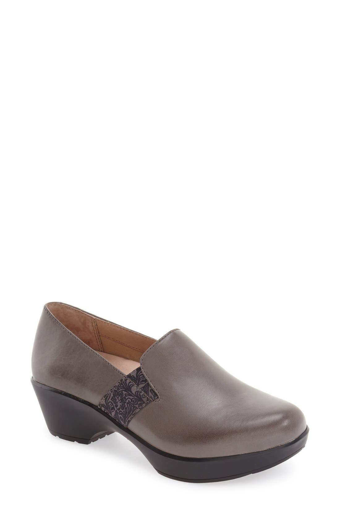 'Jessica' Platform Loafer,                             Main thumbnail 1, color,                             Grey Nappa Leather