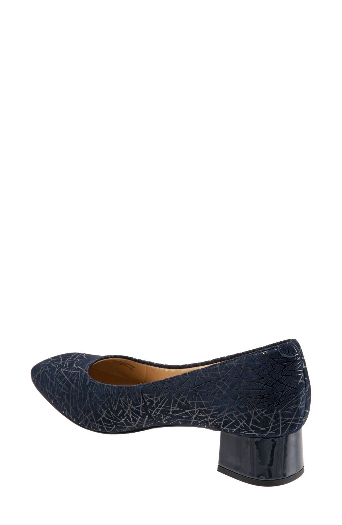 'Lola' Pump,                             Alternate thumbnail 2, color,                             Navy Embossed Leather