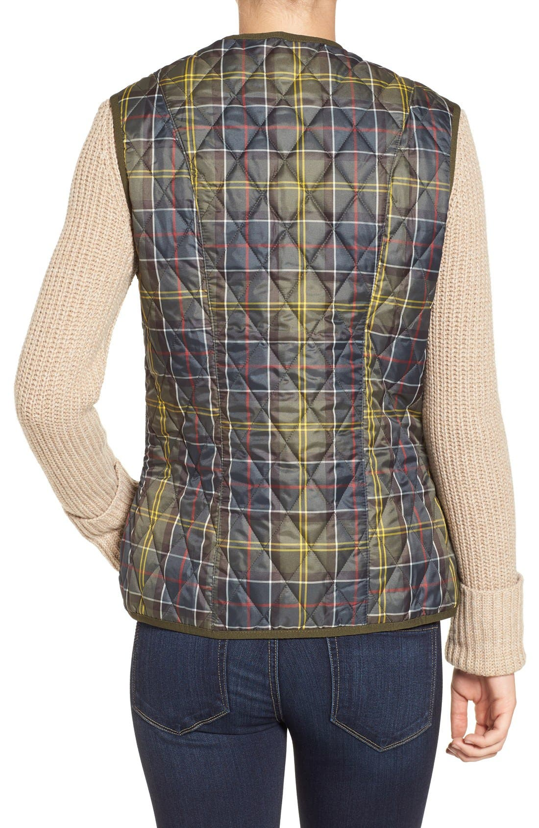 'Betty' Tartan Print Quilted Liner,                             Alternate thumbnail 2, color,                             Classic