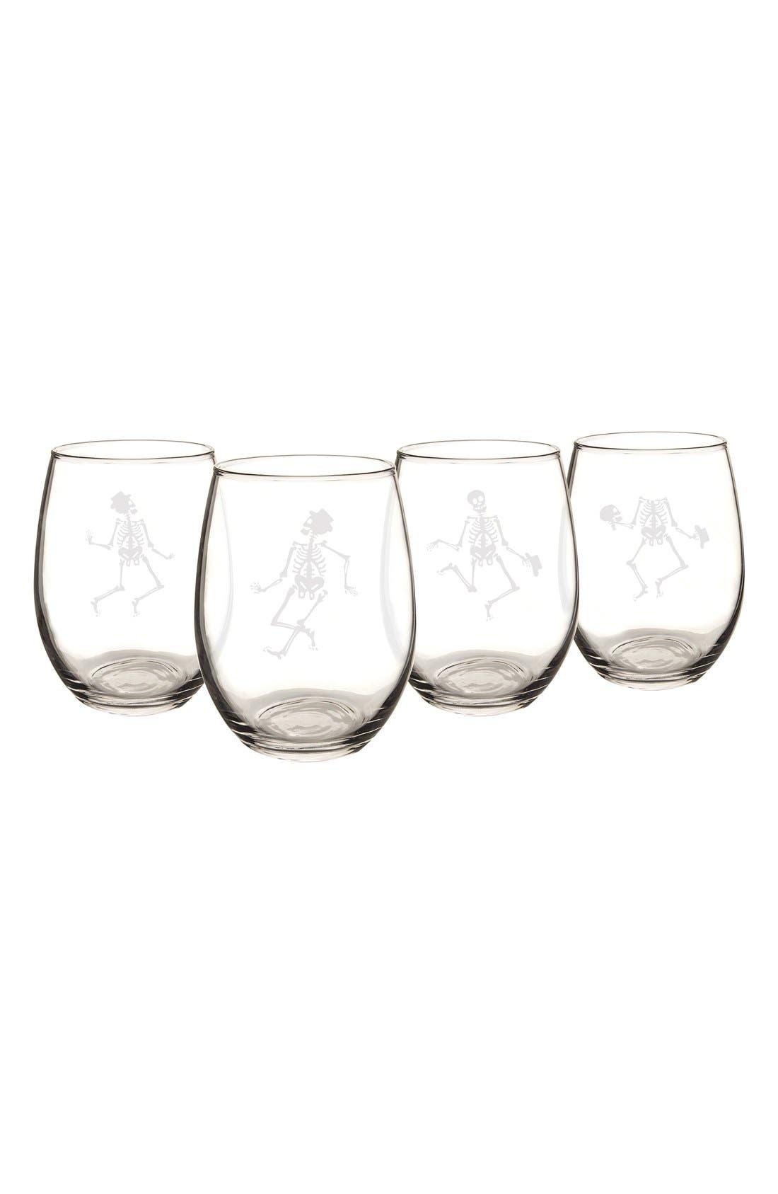 Skeletons Set of 4 Stemless Wine Glasses,                             Alternate thumbnail 2, color,                             Clear