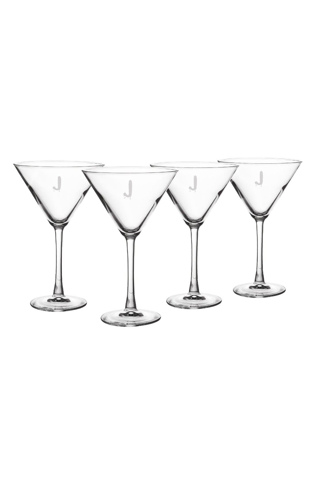 Main Image - Cathy's Concepts 'Spooky' Monogram Martini Glasses (Set of 4)
