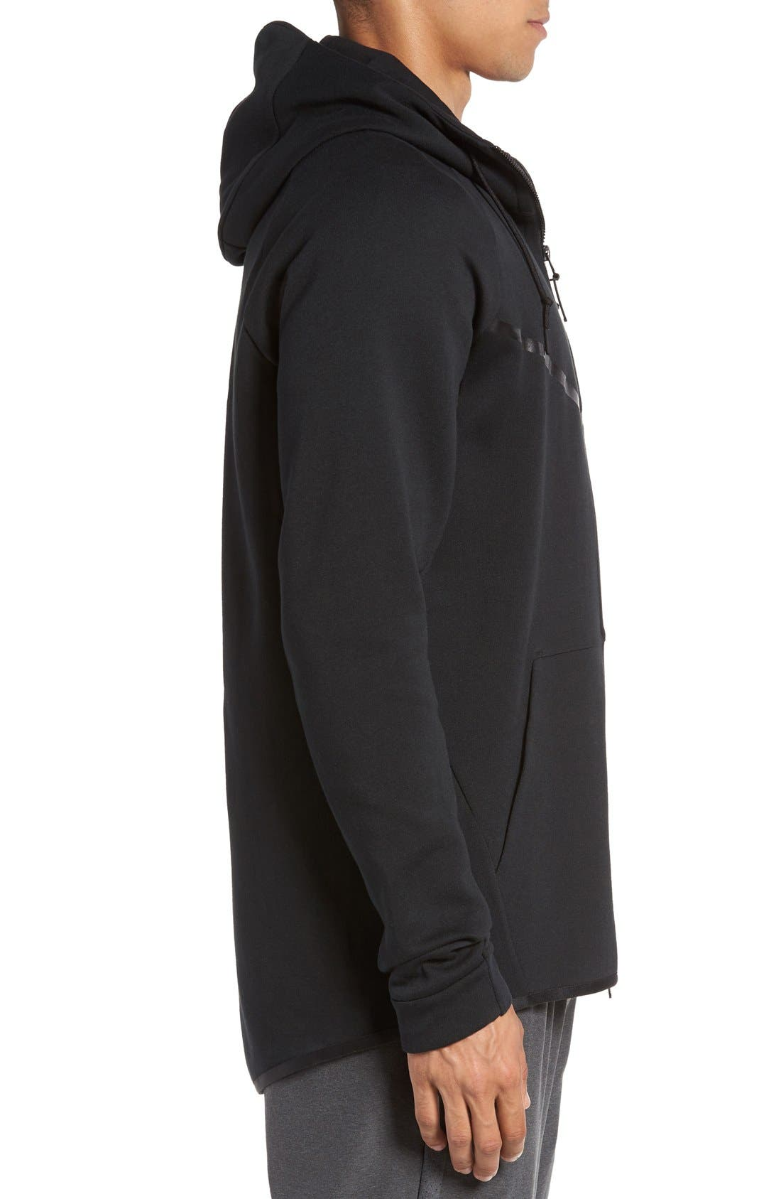 'Windrunner' Tech Fleece Hoodie,                             Alternate thumbnail 3, color,                             Black/ Black