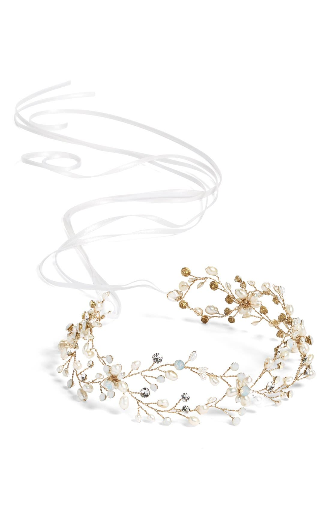 Alternate Image 2  - Brides & Hairpins 'Arabella' Jeweled Halo & Sash
