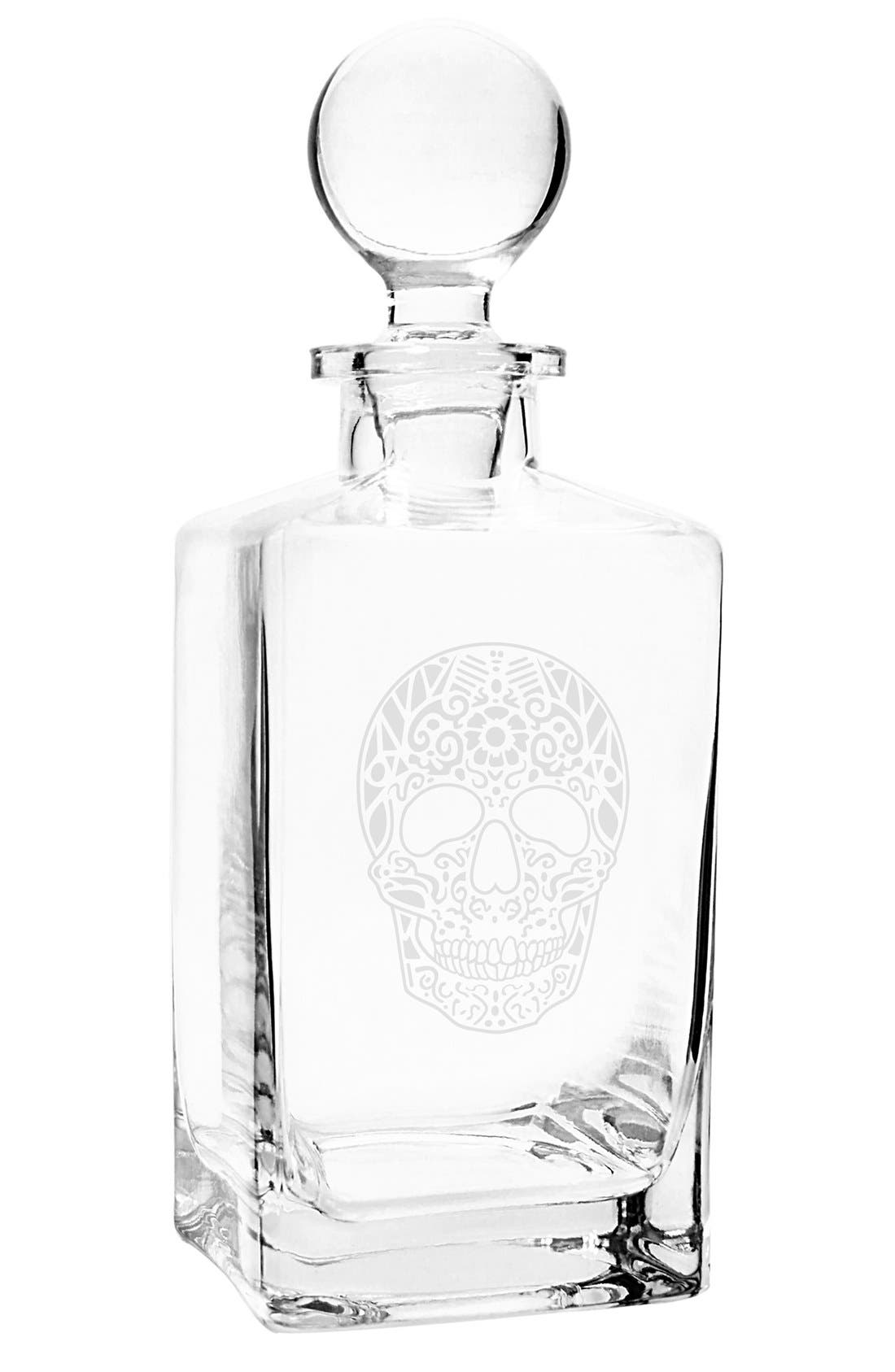 'Sugar Skull' Glass Decanter,                             Alternate thumbnail 2, color,                             Clear