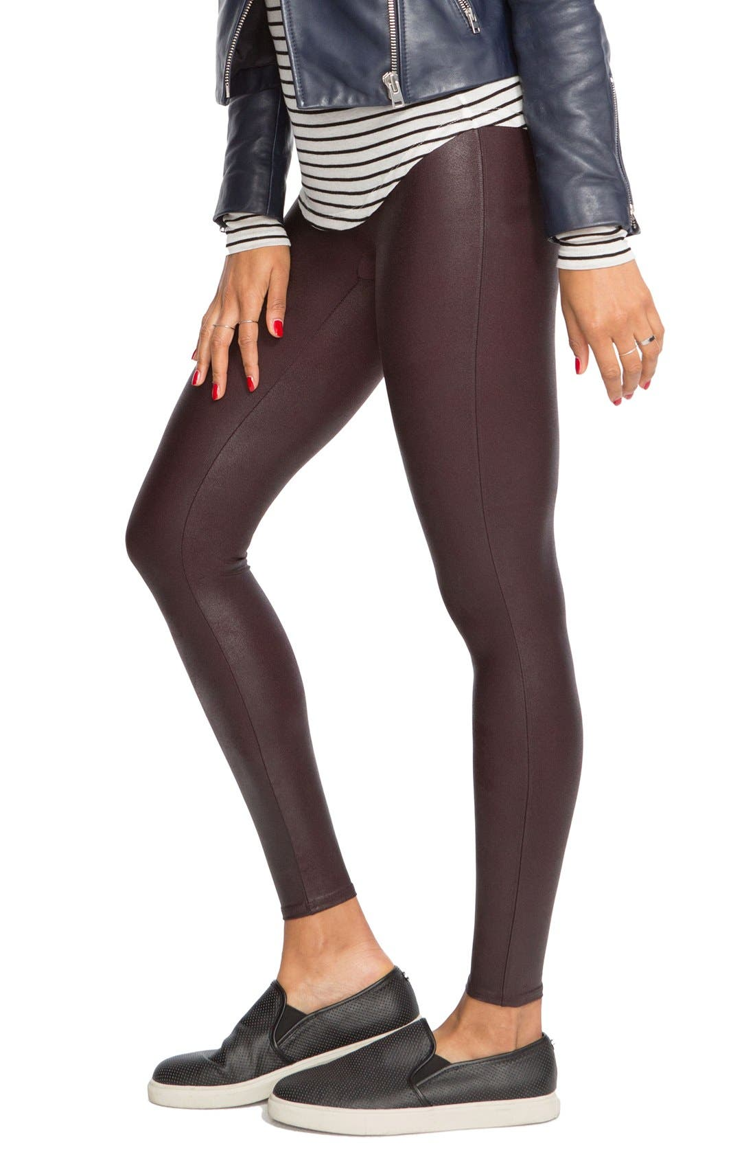 Faux Leather Leggings,                             Alternate thumbnail 5, color,                             Wine