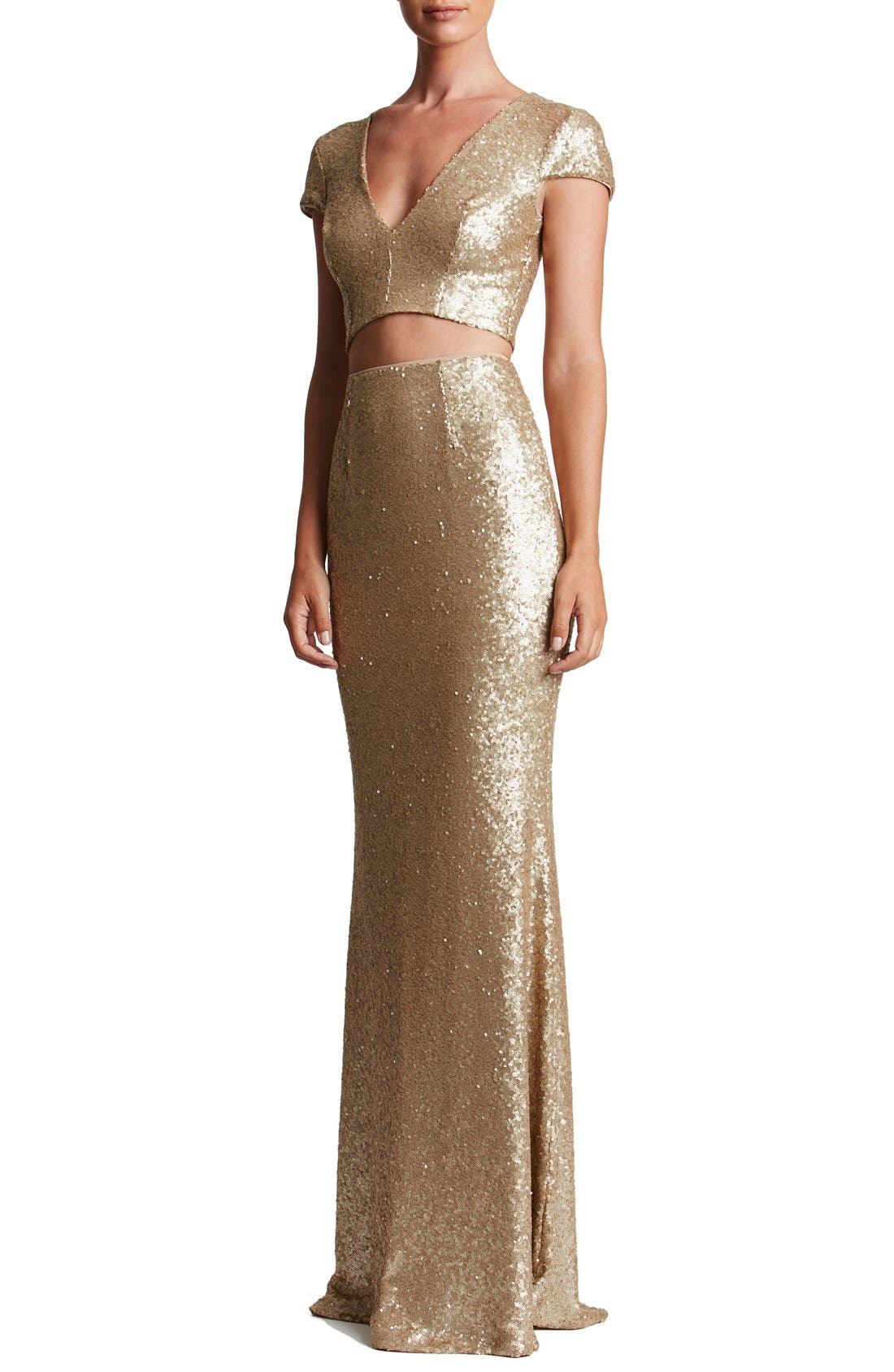 Cara Sequin Two-Piece Gown,                             Main thumbnail 1, color,                             Brushed Gold