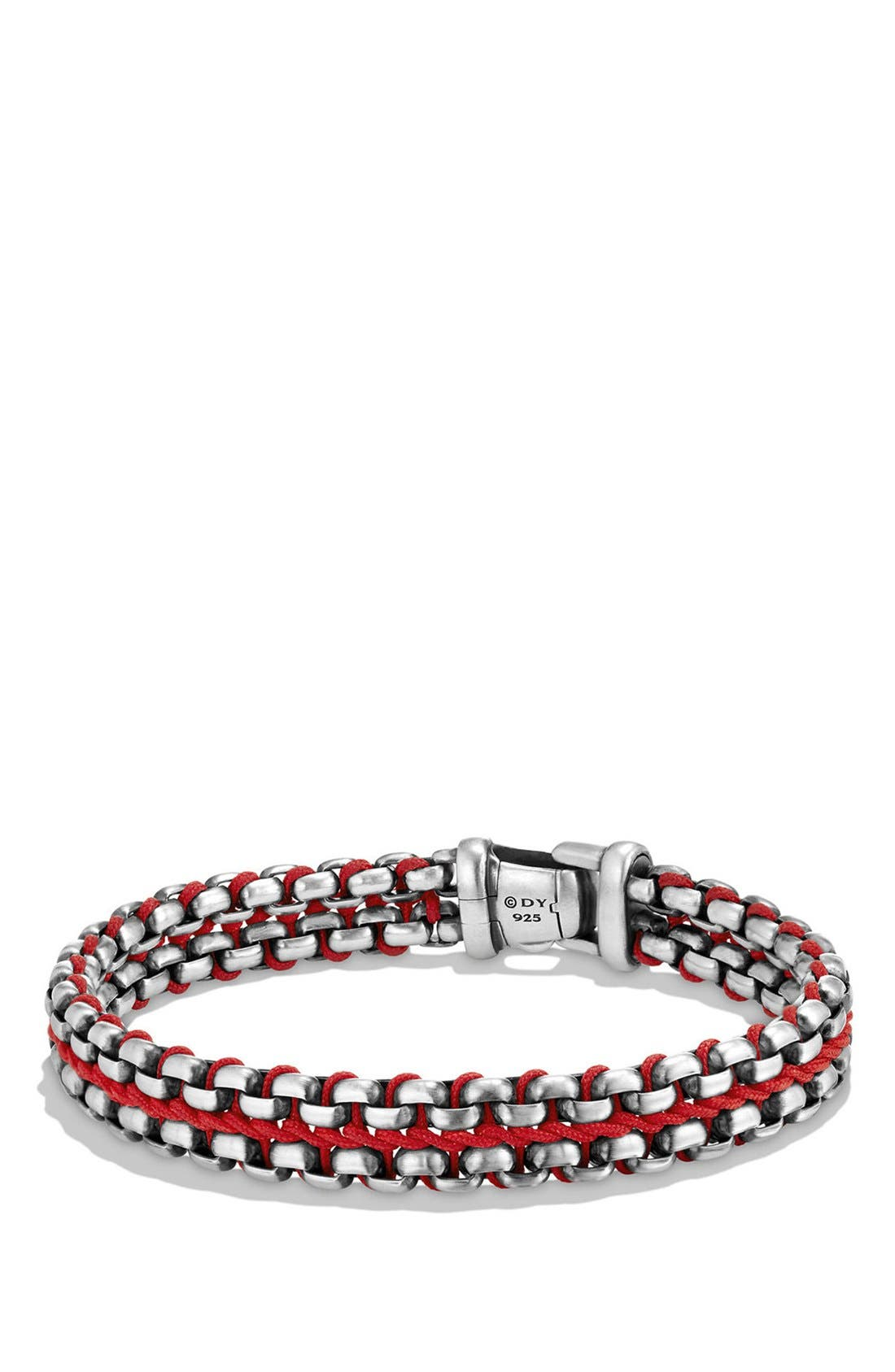'Chain' Woven Box Chain Bracelet,                         Main,                         color, Silver/ Red