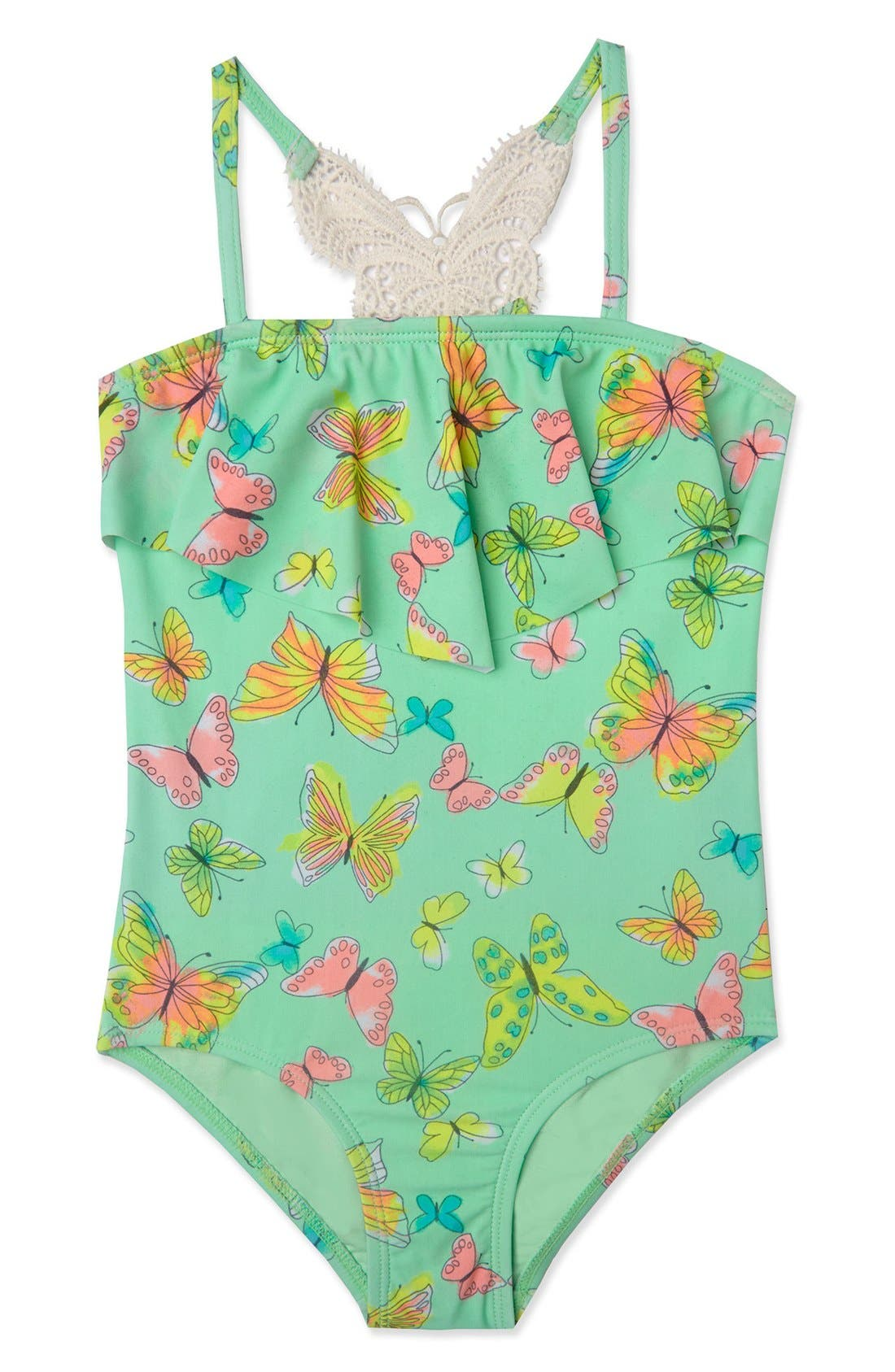 'Dreamy Butterfly' One-Piece Swimsuit,                             Main thumbnail 1, color,                             Mint