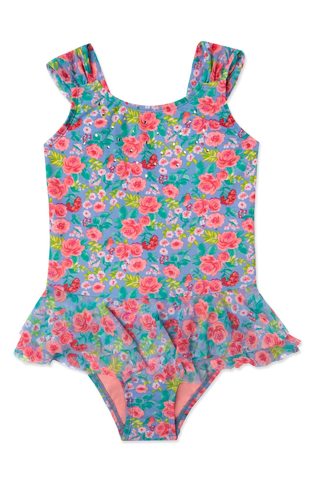 Hula Star 'Rose Tango' Floral Print One-Piece Swimsuit (Toddler Girls & Little Girls)